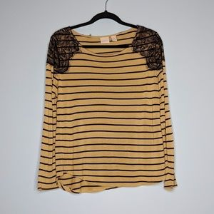Chico's Striped Lace Long Sleeve Shirt